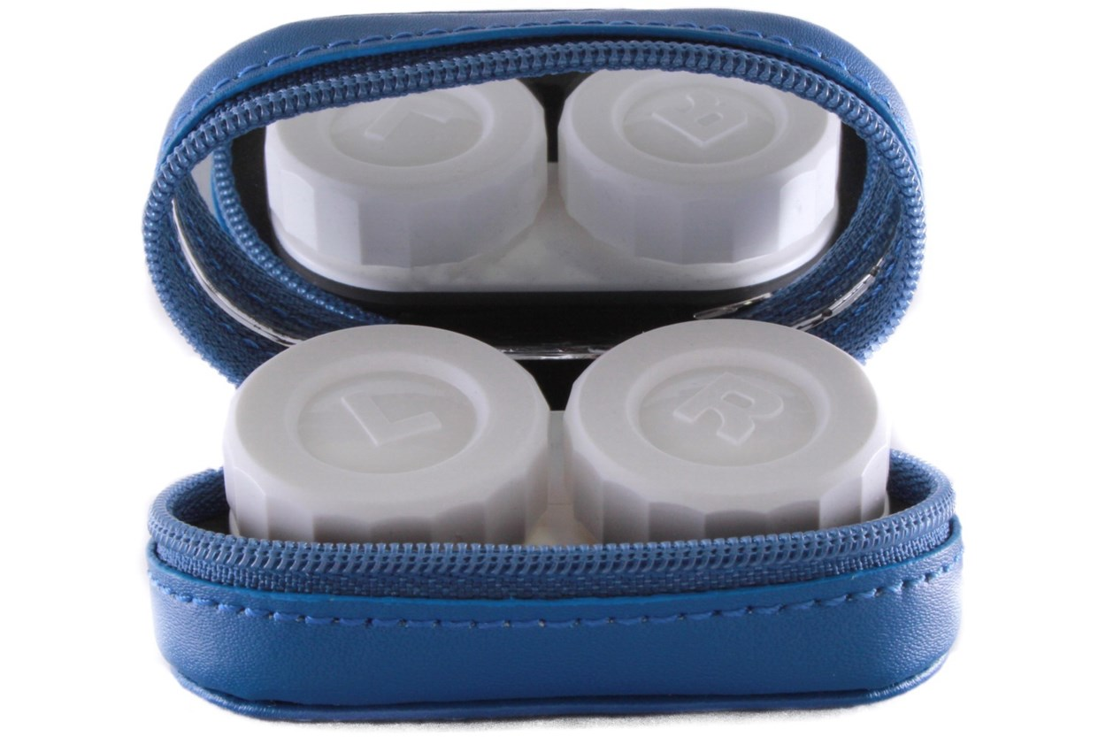 Alternate Image 1 - Amcon Leather Contact Lens Cases Cases - Blue